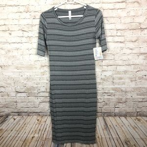 NEW Lularoe Julie black gray striped dress